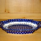 Polish Pottery Serving Tray Dish Flowering Peacock Zaklady Ceramiczne Boleslawiec