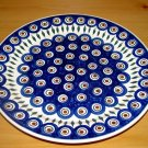 Polish Pottery Dinner Plate Blue Peacock Wiza Boleslawiec Poland