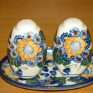 Polish Pottery Salt and Pepper WR Unikat Signature Sunflower Artist Signed Boleslawiec Poland