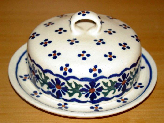Polish Pottery Butter Bell Dish Country Flower Wiza Boleslawiec Poland
