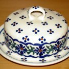 Polish Pottery Butter Bell Dish Country Flower Wiza Boleslawiec Poland