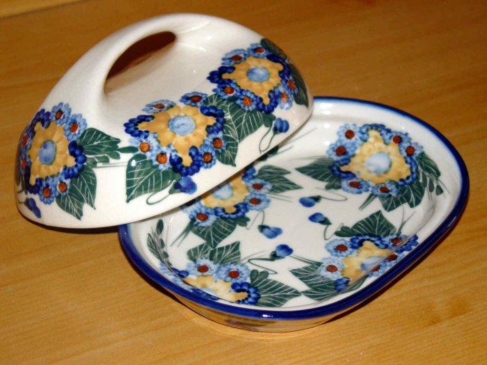 Polish Pottery Butter Dish Signature Sunflower WR Unikat Boleslawiec Poland