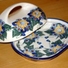 Polish Pottery Butter Dish Signature Sunflower WR Unikat Boleslawiec Poland