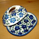 Polish Pottery Butter Dish Signature Violet WR Unikat Boleslawiec Poland