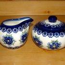 Polish Pottery Sugar and Creamer Signature Profusion WR Unikat Boleslawiec Poland