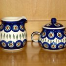 Polish Pottery Sugar & Creamer Set Peacock From Wiza Boleslawiec Poland