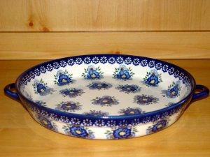 Polish Pottery Baker Large Serving Tray Signature Round Profusion WR Unikat Boleslawiec Poland