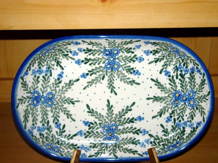 Polish Pottery Platter Signature Starburst WR Unikat Boleslawiec Poland