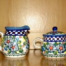 Polish Pottery Sugar and Creamer Set Unikat Blue Rose Wiza Boleslawiec Poland