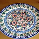 Polish Pottery Dinner Plate Unikat Flower Blooms Artist Signed  Wiza Boleslawiec Poland
