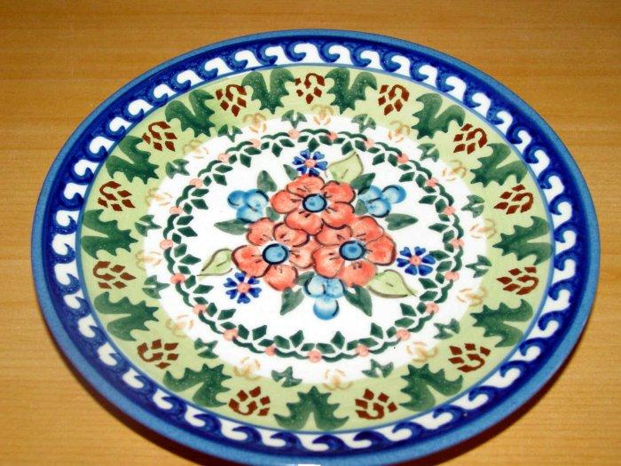 Polish Pottery Dessert Plate Unikat Artist Signed Flower Blooms Wiza Boleslawiec Poland