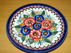 Polish Pottery Dessert Plate Unikat Art Number Garden Spray Artist Signed Zaklady Ceramiczne