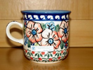 Polish Pottery Coffee Mug Unikat Flower Blooms Artist Handsigned Wiza Boleslawiec Poland