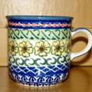 Polish Pottery Coffee Mug Unikat Sunflower Artist Signed Wiza Boleslweic Poland