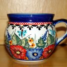 Polish Pottery Bubble Mug Unikat Art 149 Garden Spray Signed Zaklady Ceramiczne