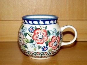 Polish Pottery Bubble Mug Unikat  Flower Blooms Artist Signed Wiza Boleslawiec Poland