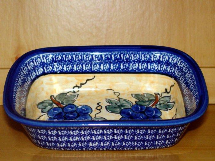 Polish Pottery Loaf Baker Grapes Unikat Zaklady Ceramiczne Boleslawiec Poland