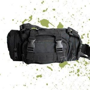 MULTI-PURPOSE ARMY MILITARY CAMO FANNY WAIST BAG - BLACK