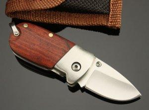 SE-BA WHITE PIGLET WOODEN HANDLE POCKET FOLDING KNIFE