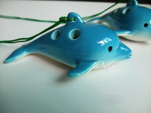 DOLPHIN WHALE POTTERY OCARINA FLUTE HANDMADE MUSICAL INSTRUMENT BRAND NEW