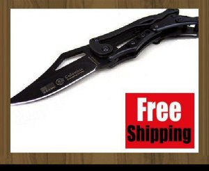 BRAND NEW BLACK TRANSFORMER SR COLUMBIA MECHANICAL BLACK STEEL FOLDING KNIFE TOOL