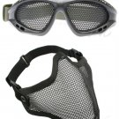 Protection Steel Face Mask with Metal Mesh Goggles Black Airsoft Paintball Set