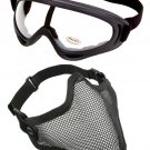 Protection Steel Face Mask with X400 Clear Lens Goggles Airsoft Paintball Set