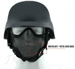 2 in 1 Protection Steel Face Mask + M88 Airsoft Paintball PASGT Swat Helmet Set