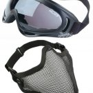 Protection Steel Face Mask with X400 Dark Lens Goggles Airsoft Paintball Set