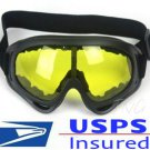 NIGHT / DAY VISION DRIVING MOTORCYCLE RIDING YELLOW LENS PADDED GOGGLES SAFETY GLASSES