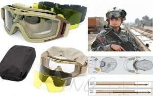 DESERT STORM 3 COLOUR LENS AIRSOFT WARGAME PAINTBALL SNIPER PROTECTIVE GOGGLES