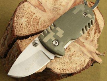 2 in 1 SE-BA CAMO PIGLET ALUMINIUM HANDLE POCKET FOLDING KNIFE + KEYCHAIN