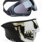 2 in 1 MOTORCYCLE BIKER SKI SNOWBOARD FACE MASK & X400 UV PROTECTION GOGGLES GLASSES SET
