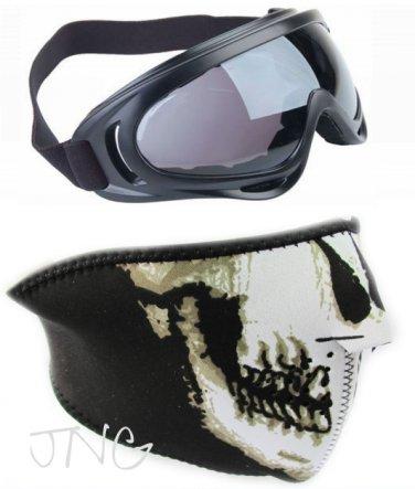 2 in 1 MOTORCYCLE BIKER SKI SNOWBOARD FACE MASK & X400 UV PROTECTION GOGGLES GLASSES SET