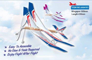 Fight Hawk II Rubber Band Powered Glider Plane Biplane Kit Aircraft Glider Model