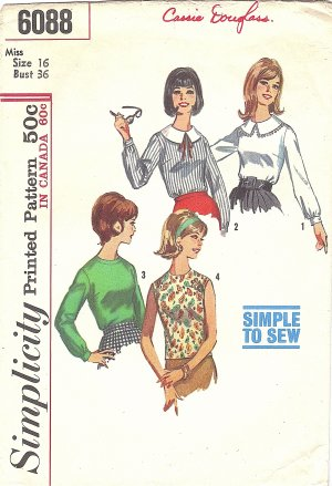 Simplicity #6088 Misses 1960s Set of 4 Back-Button Blouses Bust 36 Pattern