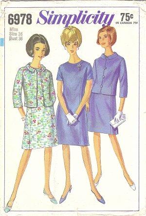 Simplicity #6978 Misses 1960s Princess Line Dress & Jacket Bust 36 Factory Folded Pattern