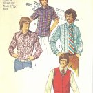 Simplicity #5047 Mens 1970s Dress or Sport Shirts in 3 Views & Back Belt Vest Chest 48 FF Pattern