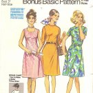 Simplicity #9466 Half Size 1970s Flared Angle Dart Dresses in 3 Views w/ Bonus Chart Bust 37 Pattern