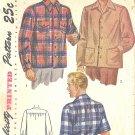 Simplicity #1961 Mens WW2 Era Back Yoke Sport Shirt w/ Long or Short Sleeves Large Pattern