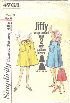 Simplicity #4763 Ladies 1960s Jiffy Wrap Around 4 Gore Skirt Waist 24 Pattern