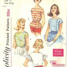 Simplicity #3343 Junior SWEET 1950s Set of 4 Distinct Summer Tops Bust 31 1/2 Pattern