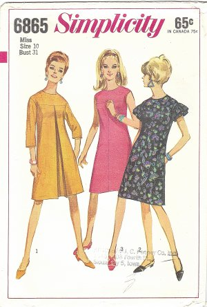 Simplicity #6865 Misses 1960s Tent Shaped Dress in 3 Views w/ Concealed Pockets Bust 31 Pattern