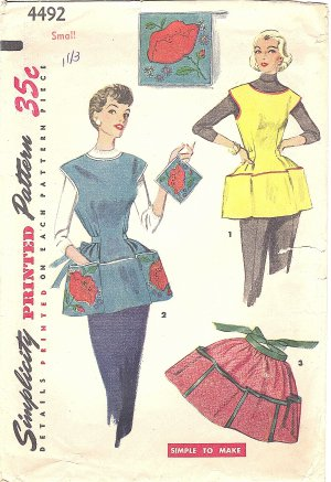 Simplicity #4492 Misses 1950s Cobbler or Half Apron~Pot Holder w/ Transfer Sz Small Vintage Pattern