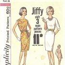 Simplicity #4947 Misses JIFFY Classic Shift Dress w/ Belt in 3 Views Bust 34 Pattern