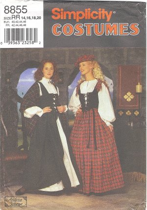Simplicity Costume #8855 Misses Hat / Shawl / Laced Bodice / Blouse / Skirt Sz 14-20 FF Pattern