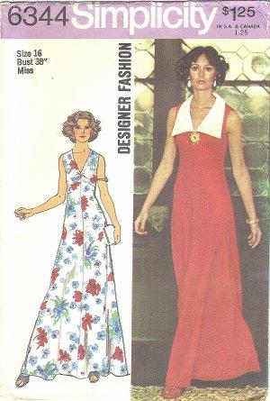 Simplicity Designer #6344 Misses 1970s V-Neck Sleeveless Maxi Dress~Detach Collar Bust 38 FF Pattern
