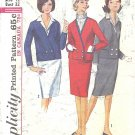 Simplicity #5595 Misses 1960s Cardigan Jacket / Skirt / Detach Dickey & Cuffs Bust 32 Pattern