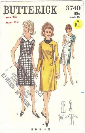 Butterick #3740 Misses Side Buttoned Coat Dress & Ascot~3 Views Bust 32 FF Pattern