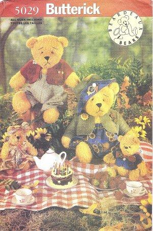 """Butterick #5029 Beardeaux Stuffed Bear Family in 15"""" & 7 1/2"""" Size Plus Clothing FF Pattern"""